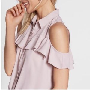 Express ruffle cold shoulder blouse pink L
